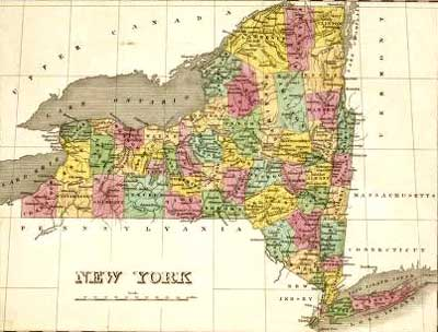 1824  New Yorkk State Map by County