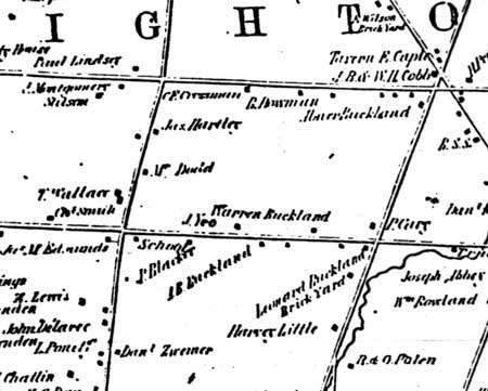 Map of the Buckland Farm property on Westfall Road in Brighton in 1852