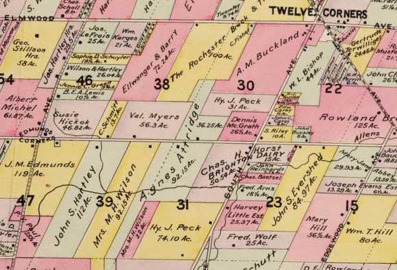 1902 map of Westfall Road in Brighton New York