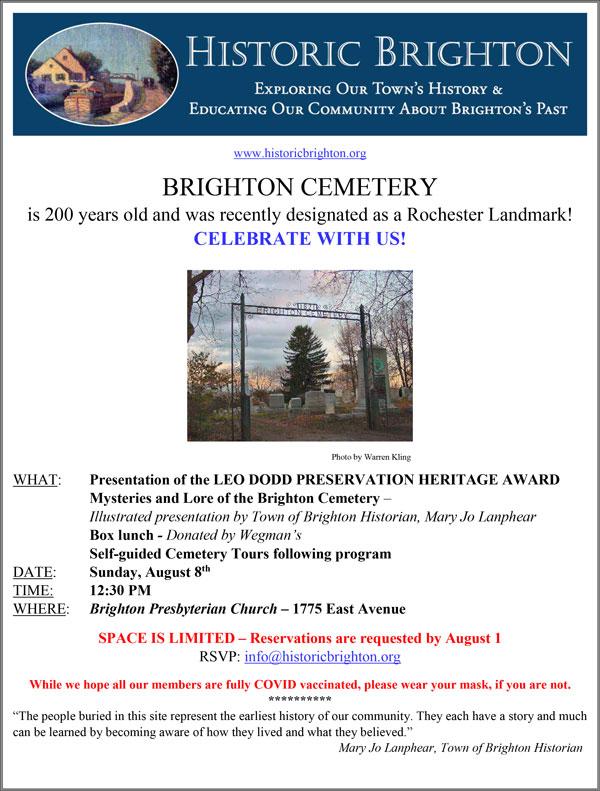 pgoto of flyer for Aug. 2021 Historic Brighton - Brighton Cemetery event