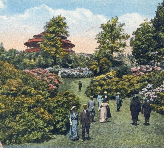Antique colored postcard illustration of Highland Park in Rochester, NY