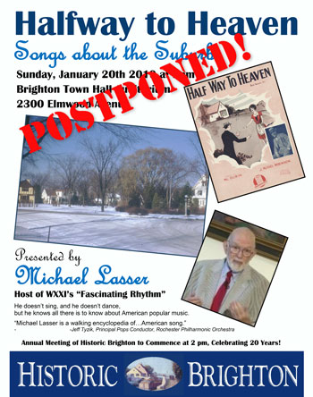 Songs of the Suburbs event poster - postponed
