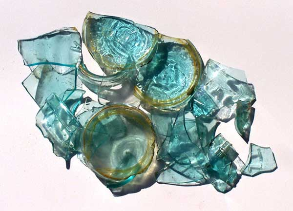 Atlas glass pieces found on the property of Buckland Farms in Brighton NY