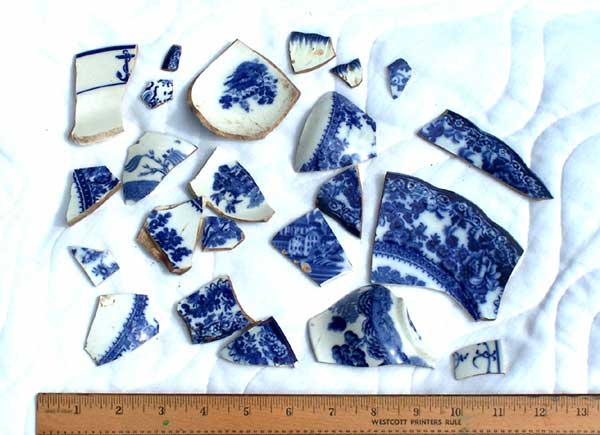 Blue Willow shards found on the Buckland Farms property in Brighton NY