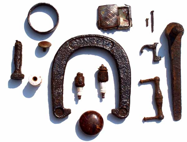 Metal artifacts found on the Buckland Farm property in Brighton New York