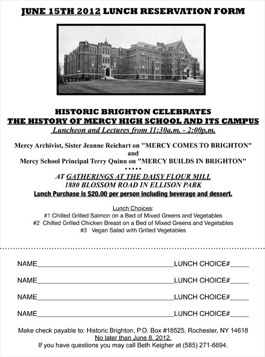JUNE 15th LUNCH RESERVATION FORM